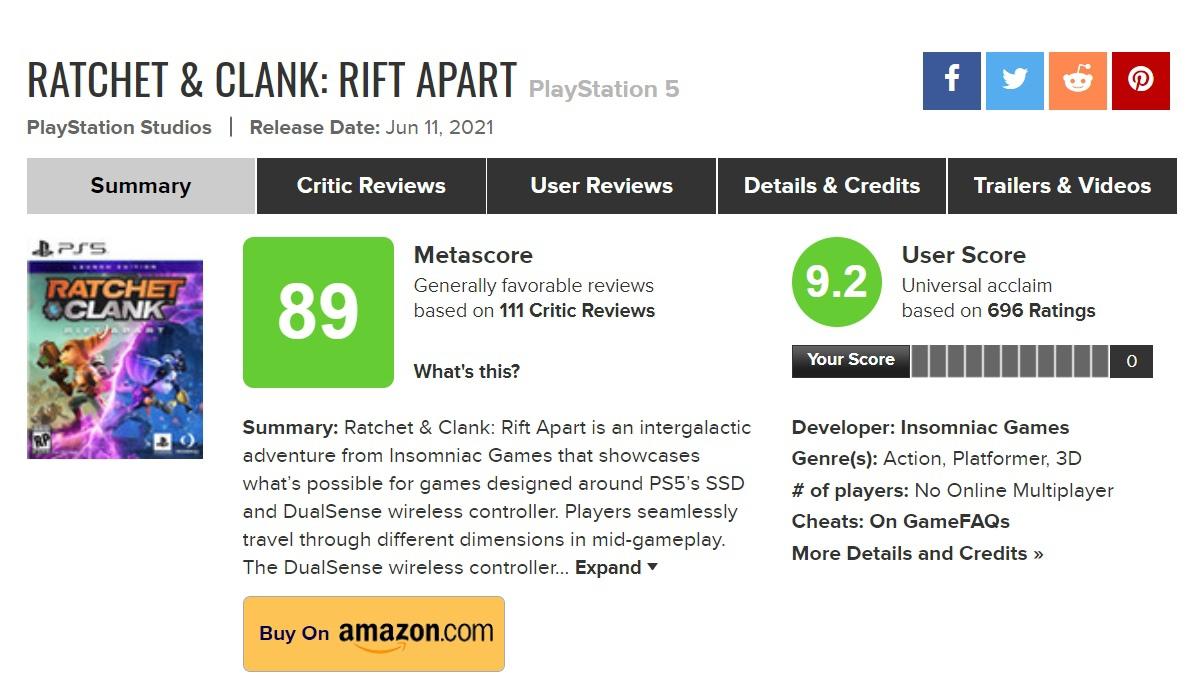 Похоже, что игроки тоже встретили Ratchet & Clank: Rift Apart весьма положительно