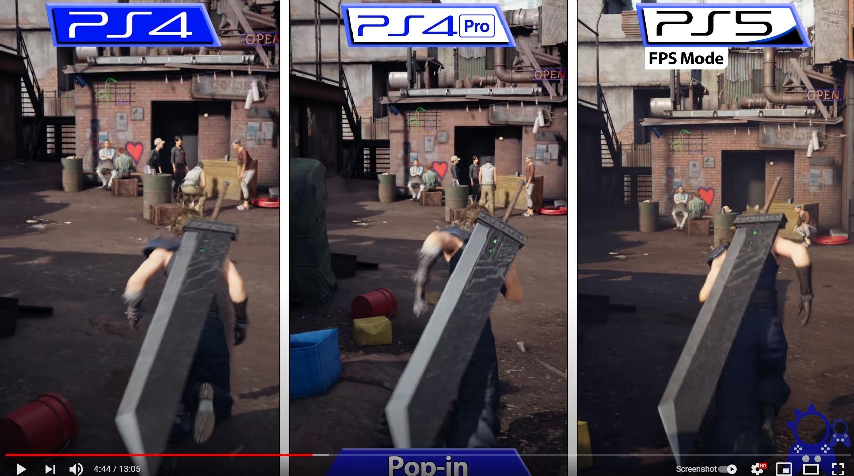 Сравнение первой части Final Fantasy 7 на PS4, PS4 Pro и PS5