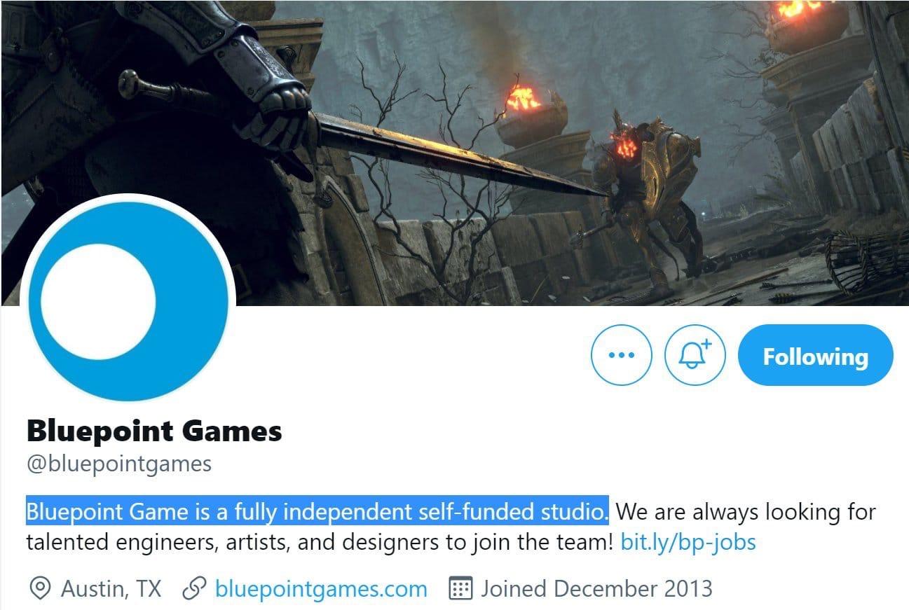 Студия Bluepoint заявила в твиттере, что является полностью независимой и самофинансируемой