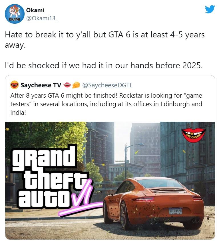 Инсайдер Okami, специализирующийся на сливах по Call of Duty, высказался о другой серии — GTA