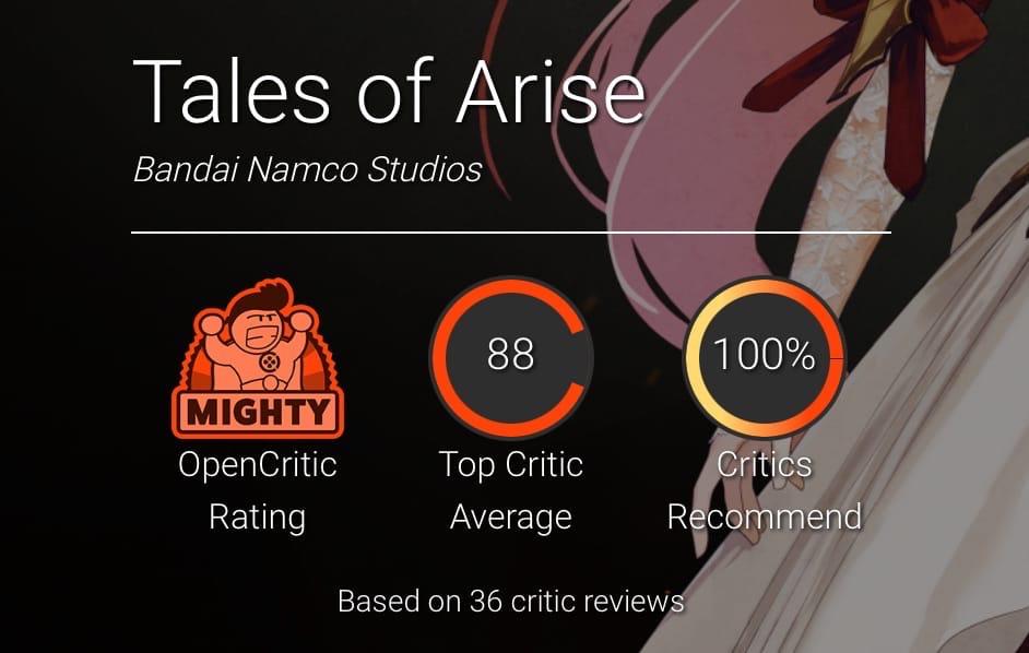 Подавляющее большинство критиков в восторге от Tales of Arise — после пятилетнего перерыва серия вернулась, став значительно красивее и сохранив прежние достоинства