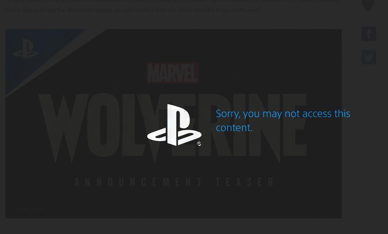Интересный факт, на сайте PlayStation трейлер Wolverine требует ввести год рождения. Если он меньше 18, то трейлер посмотреть нельзя.